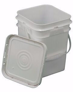 4 Gallon Square Bucket With Snap On Gasketed Lid Food Grade Ebay