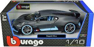 Bugatti-divo-Matt-Gris-Con-Azul-acentos-1-18-Diecast-Modelo-Coche-por-Bburago-11045