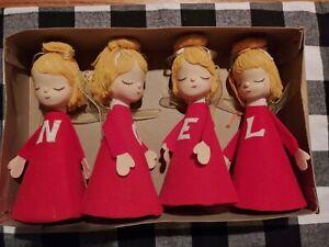 "Vintage Mid Century SHACKMAN Four Christmas ""NOEL"" Angels Cloth Figurines w BOX"