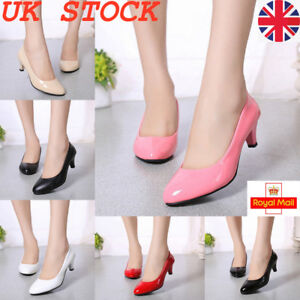 Womens-Low-Mid-Kitten-Heel-Office-Shoes-Lady-Slip-On-Pumps-Court-Work-Shoes