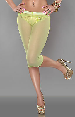 SEXY LEGGINGS TRASPARENTI CAPRI VERDE ACIDO FLUO NEON LIME DISCO CLUB WEAR S/M