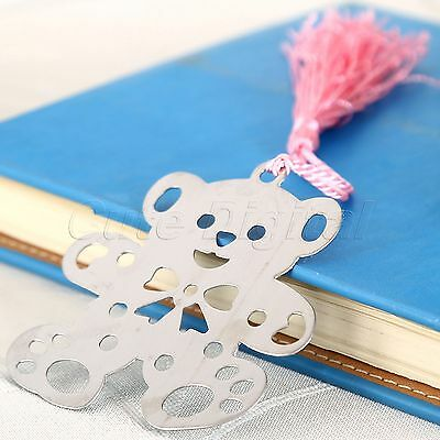 1x Creative Tassels Alloy Bear Bookmarks Birthday Wedding Party Favor Gifts Pink