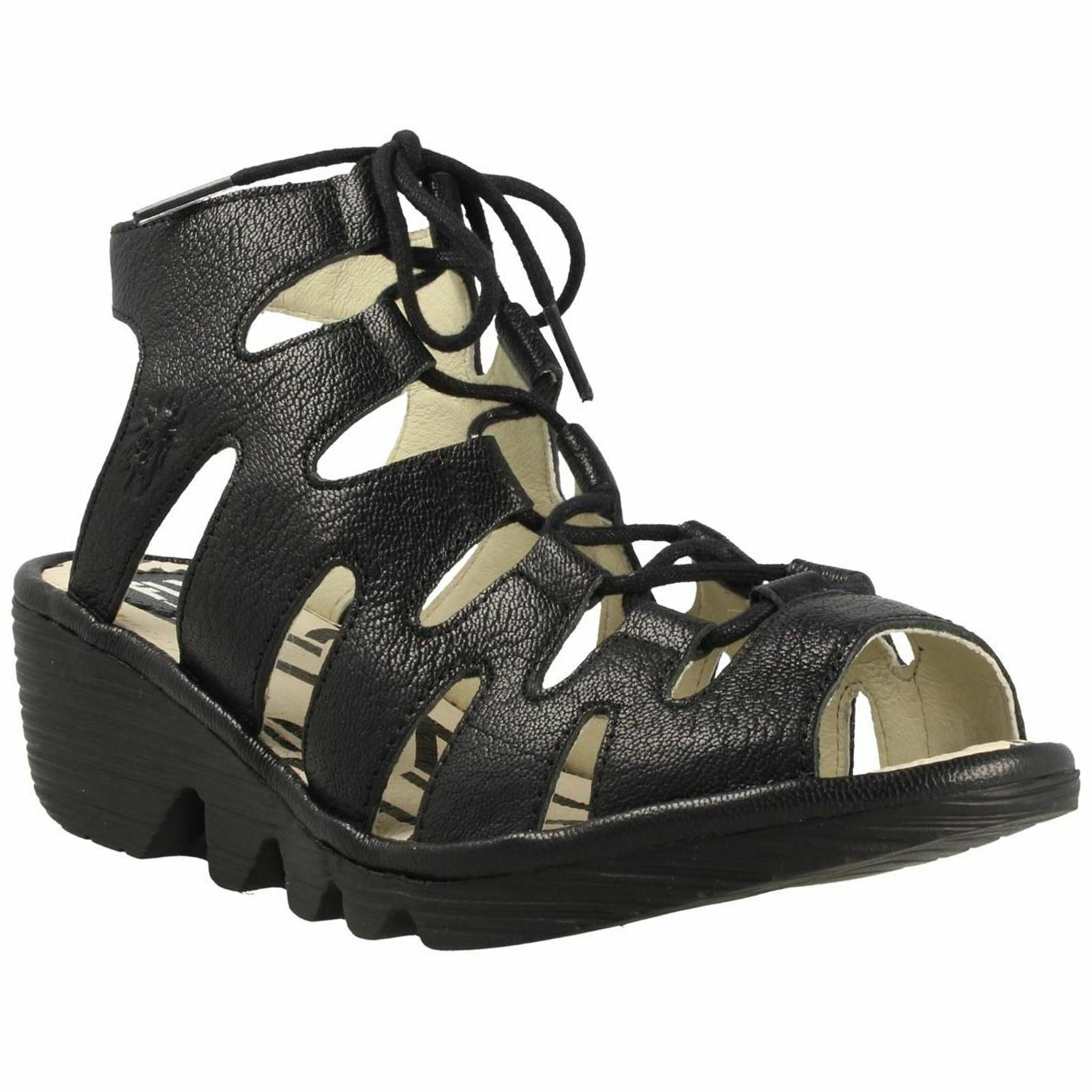 Fly London Port 813 Black Womens Leather Lace-Up Wedge Strappy Sandals