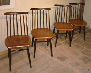 Détails sur Série de 4 chaises Fanett ilmari Tapiovaara années 50 1ére édition à 7 barreaux