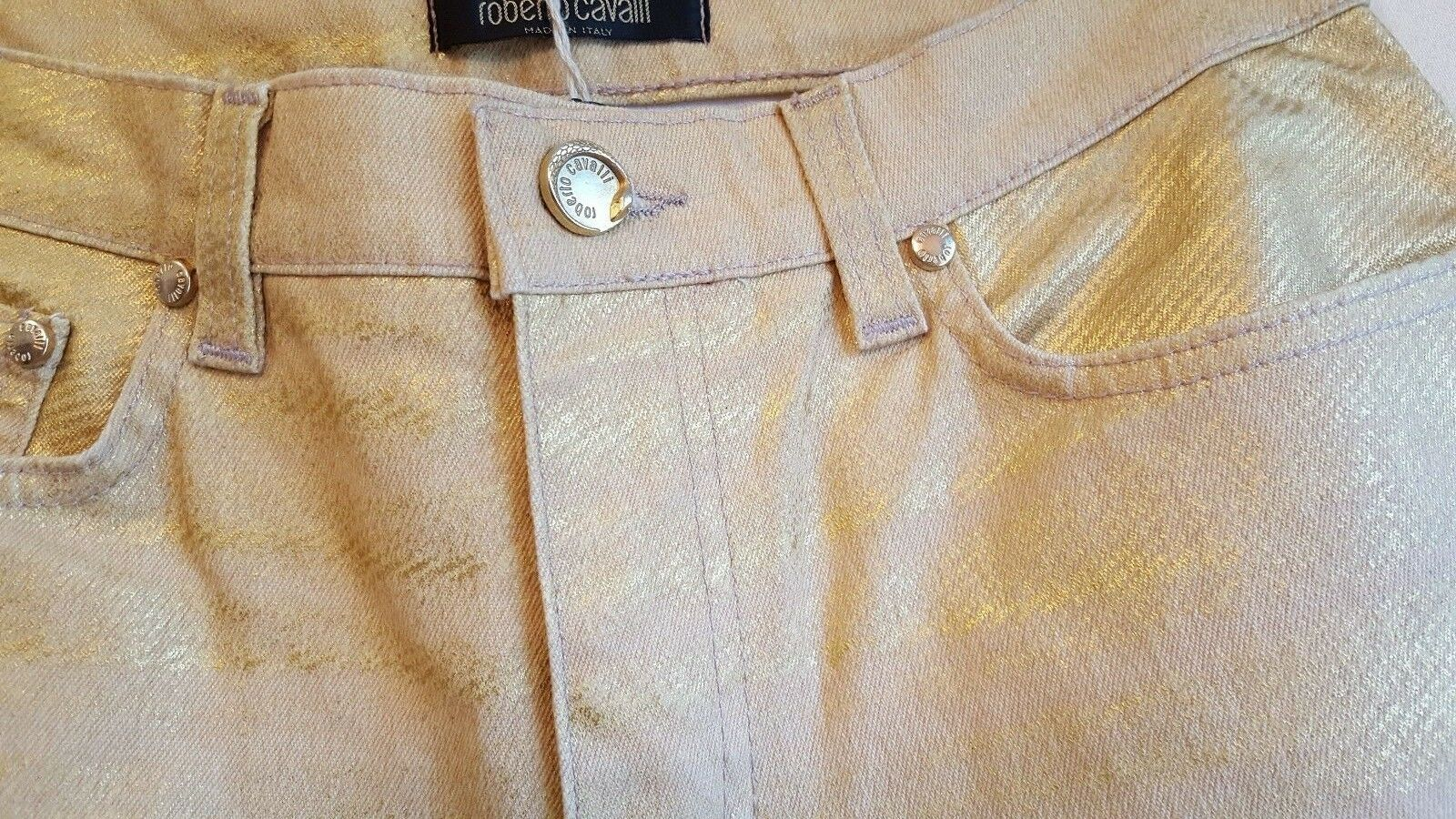 Roberto Cavalli - New With Tags - gold Metallic Jeans, Size Small