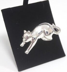 Brooch-925-Unusual-Abstract-Cat-Animal-Silver-Jewellery-16g-Ladies-Gift