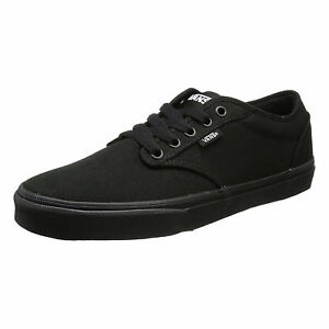 9ea449dbbcd Details about VANS Atwood Mens Canvas Skater Trainers Plain Shoes Lace Up  Plimsolls Black
