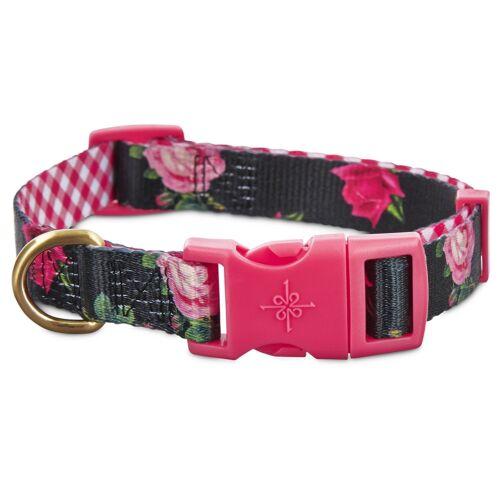 Large Good2Go Pink Rose Print Dog Collar in Black Size Small Medium