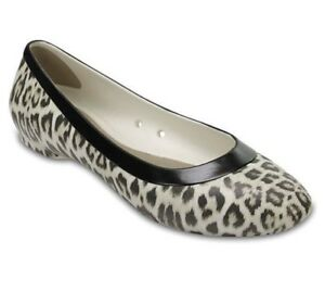 6052e5b23 Image is loading Crocs-Womens-Flat-Ballet-Shoes-Leopard-Oyster-Cream-