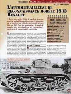 FICHE TECHNIQUE AMR 33 L'AUTOMITRAILLEUSE RENAULT MODÈLE 1933 FRANCE 1940-1945 mH2BEId2-09155324-826122761