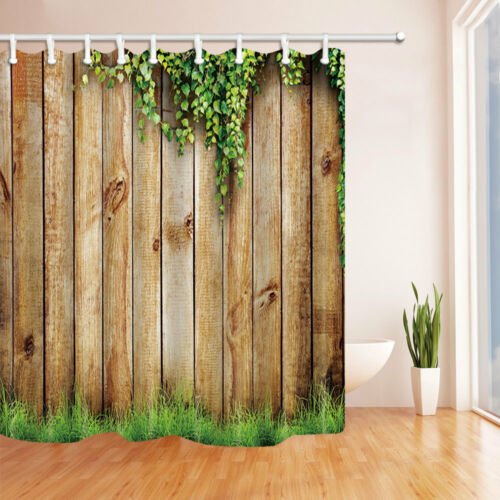 """71/"""" Waterproof polyester Shower Curtain with hooks Bathroom mat set Wooden fence"""