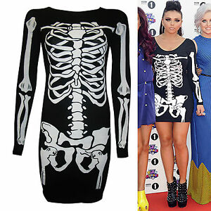 WOMENS HALLOWEEN SKELETON TUNIC TOP LEGGINGS SCARY BODYSUIT FANCY DRESS COSTUME