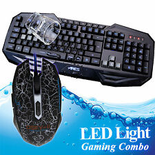 ARES K3 USB Wired 7 LED Backlit Gaming Game Keyboard&Mouse Mice Bundles Combo