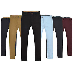 Men-Chino-Trousers-Slim-Fit-Cotton-Regular-Pants-Casual-waist-sizes-Skinny-New