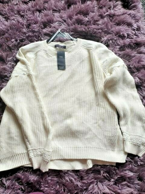 Femme Nouveau M&s 100% Coton Beau Pull Taille 22 Bnwt Neuf Avec étiquette