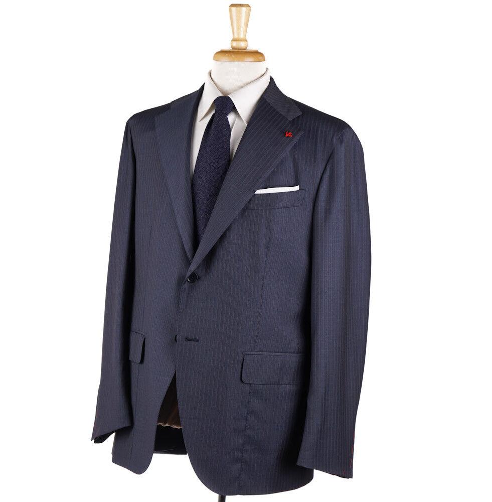 NWT 4195 ISAIA Slate Blau Stripe Aquaspider Super 160s Wool Suit 46 R (Eu 56)
