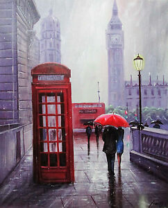 100-Hand-painted-Art-Oil-Painting-Landscape-Figure-London-ART-16-20inch-Signed