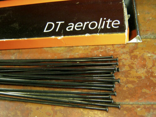 """DT SWISS AEROLITE Spokes Black /""""Bladed/"""" STRAIGHT-PULL *Any Qty**Any Length* NEW"""