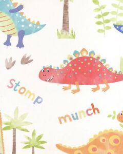 G45129 Minuscule Tots Papier Peint Dinosaures Rouge Vif Orange Bleu