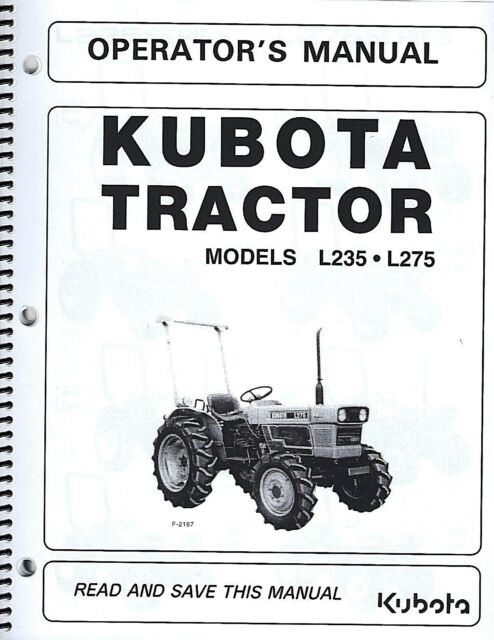 Kubota L235 L275 Tractor Operator S Manual W Wiring Diagram Maintenance