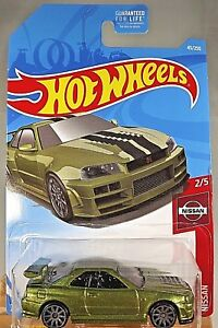 2019-Hot-Wheels-45-Nissan-2-5-NISSAN-SKYLINE-GT-R-BNR34-Green-w-Gray-10-Spoke