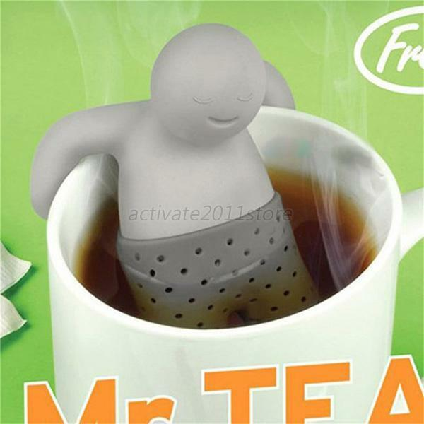 Fun Mr.Tea Infuser Silicone Loose Tea Leaf Strainer Herbal Spice Filter Diffuser