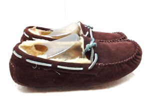cb91b4aa93b3 UGG Australia 8M 39 Brown Suede Shearling Moccasin Slippers Casual ...