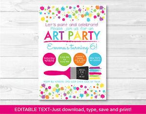 Art birthday party rainbow art party printable birthday invitation image is loading art birthday party rainbow art party printable birthday stopboris Images