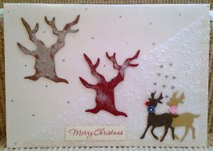 Luxury-Handmade-Personalised-Large-A4-CHRISTMAS-CARD-Reindeer-Couple-in-Snow