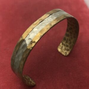 Vintage-Bracelet-Cuff-7-Hammered-Two-Tone-Copper