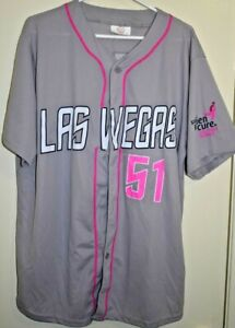 promo code 3b5e3 78511 Details about LAS VEGAS 51s GRAY AND PINK Cure Cancer NEW YORK METS AAA  Minor League JERSEY XL