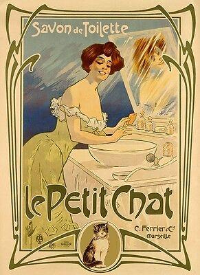 Lady Soap Bath Savon Toilette Cat Le Petit Chat Vintage Poster Repro FREE S/H