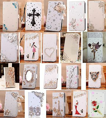 Luxury Bling For Phone Crystal Rhinestone Diamond Flip Wallet Leather Case Cover