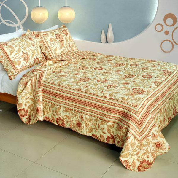 3 PC Beautiful Moment floral peach 100% Cotton Vermicelli Queen Quilt Shams
