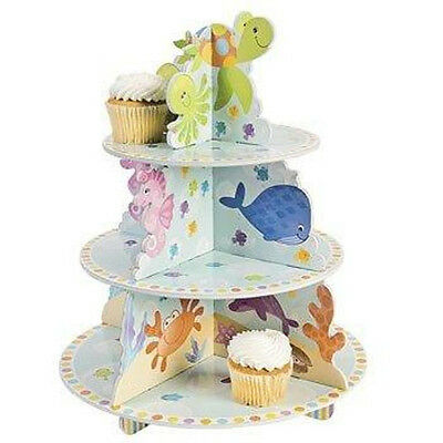 3 Tiered UNDER THE SEA Ocean Theme Cupcake Holder Birthday Party Decorations