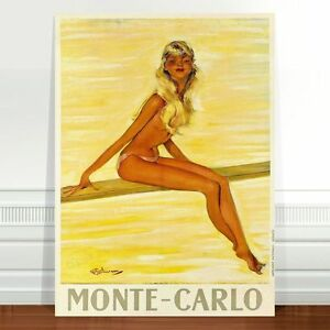 "Stunning Vintage Travel Poster Art ~ CANVAS PRINT 24x18"" Monte Calo Beach Girl"