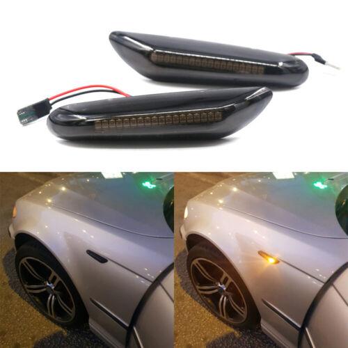 Smoked LED Dynamic Side Marker Turn Signal For BMW E90 E91 E92 E60 E87 E82 E46