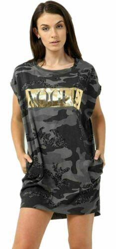 Womens Ladies Baggy Vogue Army Oversized T-shirt Top Dress