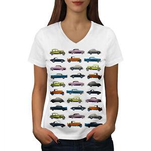 Wellcoda-Classic-Old-Pattern-Car-Womens-V-Neck-T-shirt-Retro-Graphic-Design-Tee
