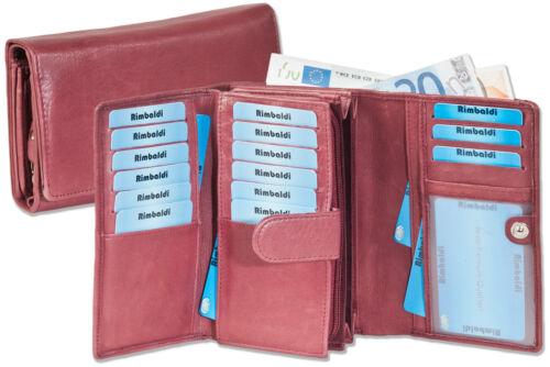 Rimbaldi® Damen Geldbörse mit viel Platz aus naturbelassenem Leder in Aubergine