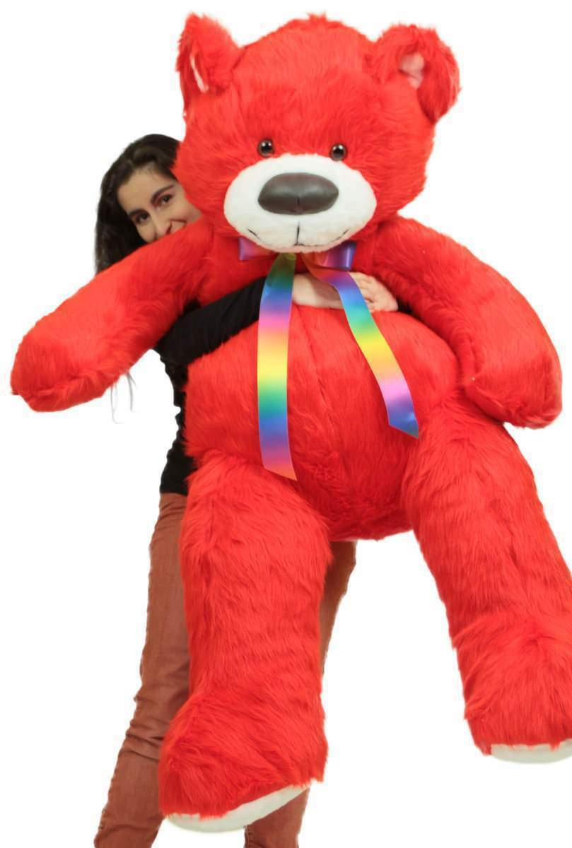 Red Teddy Bear 5 Feet, Giant 5 Foot Red Teddy Bear Big Plush Soft Life Size Stuffed Animal Made In Usa For Sale Online
