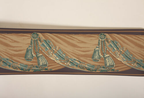 Victorian Brown Green Gold Tassel SWAG Drapery Valance Drape Wallpaper Border