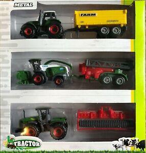 Mega-Trecker-Traktor-Maehdrescher-Set-Landwirtschaft-Spielzeug-3-Fahrzeuge