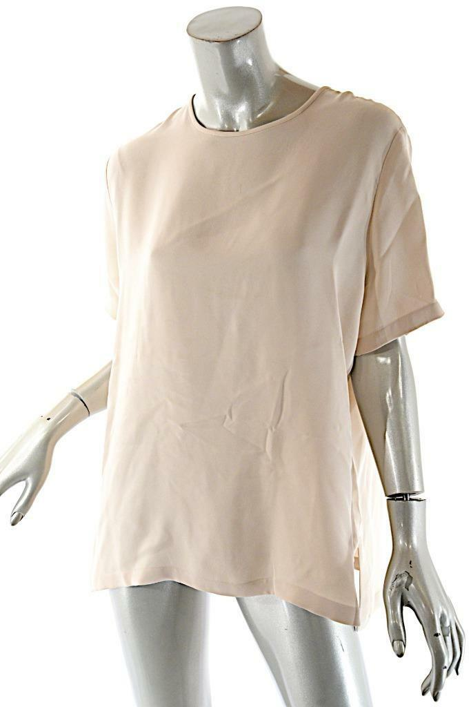 MAX MARA Pale Dusty Rosa Silk Short Sleeve Blouse with Rear Keyhole   Sz L