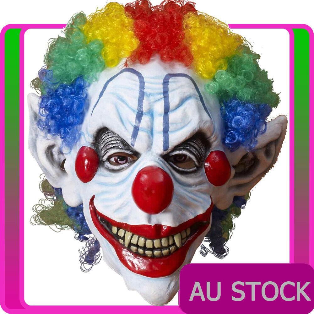 Mens Sinister Mr Mister Horror Creepy Clown Killer Halloween Costume Mask + Wig