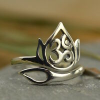 Yoga Jewelry Lotus Openwork Ohm Ring Flower Spiritual Uk Size J K L M N O P