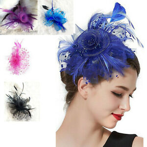 Women-039-s-Fascinator-Hat-Flower-Mesh-Ribbons-Feathers-Headband-Cocktail-Tea-Party
