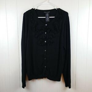 Grace-Elements-Women-039-s-Size-XXL-2XL-Black-Ruffle-Front-Cardigan-Sweater