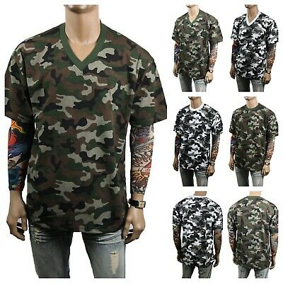 Men T-Shirt Crew Neck /& V-Neck Military Army Camo Hunting Sports Outdoor S-5X