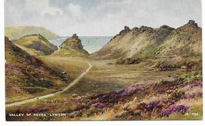 Vintage-Postcard-Valley-of-Rocks-Lynton-From-a-watercolour-by-Brian-Gerald